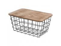 Košík kov/dřevo 31,5x21,5 cm