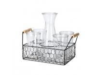 Karafa sklo 1 l+sklenice 0,5 l 4 ks+stojan kov