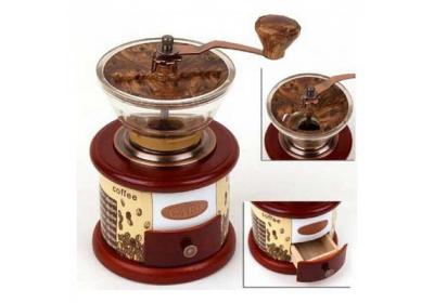Mlýnek na kávu porcelán/dřevo